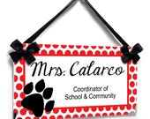 black tiger paw theme coordinator office custom name plaque door sign - white with red polka dots - P2196
