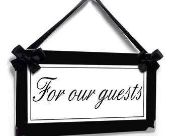 personalized door sign - guests bathroom / house house decor plaque black background - all colors available  - P424