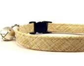 Cat Collar, TAN SCRATCHED, Small Dog Collar, Handmade