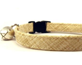 Cat Collar, Small Dog Collar, Tan Color Weave