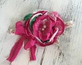 Baby Girl Headband- Baby Headbands- Pink Flower headband- Newborn Headband- flower headband- Boho Headband-Newborn Headband