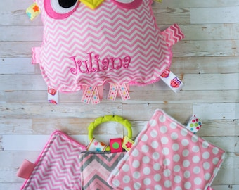 """Baby girl plush toys, baby boy plush toys, crinkle owls , and three 4"""" toys, personalization included.   8"""" x 8""""  with plush backing."""