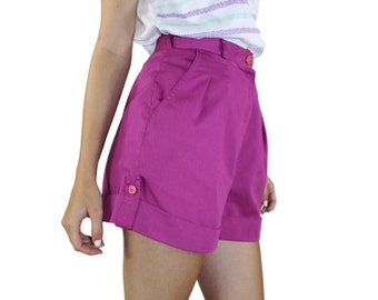"Cuffed Shorts - Violet Pockets Zipper Fly COTTON Purple Preppy Mom Shorts Pleated Shorts 1980s Button Cuffs Belted 26"" High Waist Small XS"