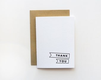 Letterpress Thank You Minimal Card / Modern Thank You Card / Simple Thank You Card