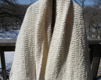 Ivory/Cream Super Soft Hand-knit Lap Blanket/Shawl/Wrap