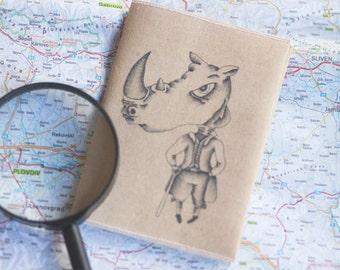 Rhino illustration Passport Cover