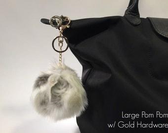 CREAM & GREY Rabbit Faux Fur Pom Pom Keychain and Purse / Handbag Charm
