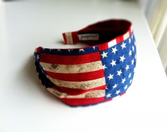 Red white blue july 4th of July American flag headband rustic americana patriotic hair accessories women head band Stars and Stripes