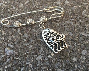 Safety pin / Decorated brooch/ Hamsa/ Chamsa/ Kaballah/ Protection/ Jewish New Year/