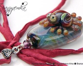 Frog Baby - pendant Lampwork artisan glass beads copper silk ribbon