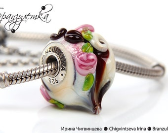 Coffee heart - 1 pc European Beads lampwork brown pink ivory delicious  - Charm with a large hole - 925 silver core
