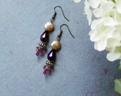 Fantasy Purple and Pink Faceted Glass Earrings