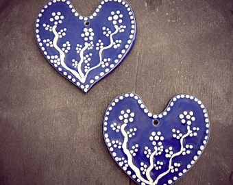 Blue Heart Ceramic Valentines Day Hearts Set of 2 Ornaments Eco Friendly Pottery Wedding Favor Mothers Day Gift