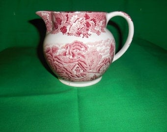 """One (1), 4 1/2"""", 24 oz. Pitcher, from Enoch Wood & Sons, inthe English Scenery-Pink Pattern."""
