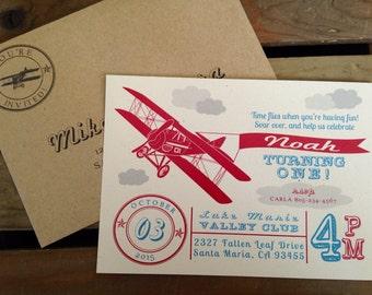 Vintage Airplane Themed Invitation- Raised Clouds - CUSTOM Birthday Baby Shower - Red Blue Gray Kraft -  Recycled - Eco - DIGITAL PRINTABLE