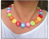 Rainbow, polka dot, button necklace