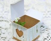 Custom Order for Kate 90 Favor Boxes Birch Favor Box Heart Favor