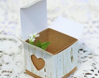 12 Favor Boxes Birch Favor Box Heart Favor Box 2X2 Favor Box White Box Candy Box Rustic Wedding Favors Nature Party Favors Empty Favor Boxes