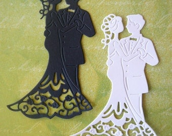 Bride and Groom Die Cut Embellishment for Scrapbooking, Card Making, Wedding, Table Decorations, Cupcake Toppers