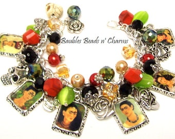 Frida Kahlo and Day of the Dead Charm Bracelet, Día de Muertos Charm Bracelet, Frida Kahlo Self Portrait Photo Charm Bracelet