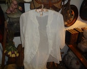 WHITE BLOUSE...Soft white embroidered cotton blouse from the 1930's