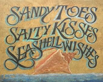 Beach Art Sign  , conch shell art