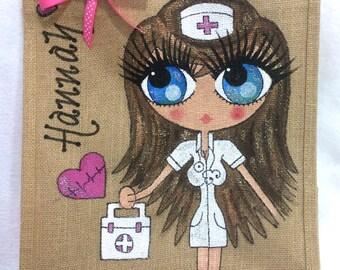 Handpainted Personalised Sexy Nurse Jute Handbag Gift Bag Hen Party Celebrity Style
