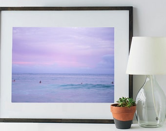 Surfer Girls against a Pink and Purple Sky
