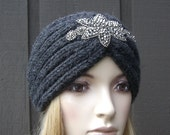 Knitted Headband Head Wrap Winter Ear Warmer Charcoal Gray Grey with Sparkle Bead Applique