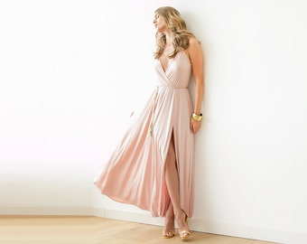 Pink straps wrap gown, Bridesmaids maxi dress with slit, Pink maxi sexy dress