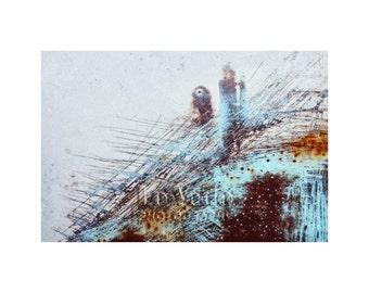 Blue Abstract Photo, Aqua, Sky Blue, Rusty Car, Junkyard, Modern Art, Contemporary Decor, Scrap Yard