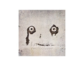 Abstract Face Photo, Rusty Car, Scrap Yard, Black and White, Ghost Face, Eyes, Junkyard Art