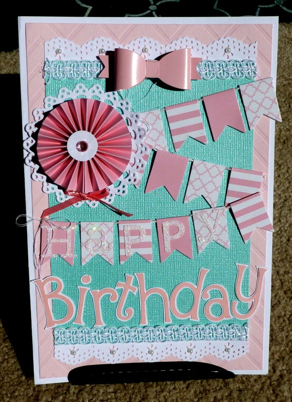 birthday handmade 3d greeting card with 3d embellishments