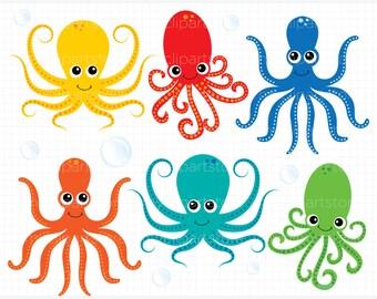 Clipart - Under The Sea / Octopus / Octopi - Digital Clip Art (Instant Download)