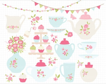Clipart - Shabby Chic Roses Tea Set / Afternoon Tea Party - Digital Clip Art (Instant Download)