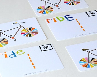 Bicycle Art Postcards- RIDE!