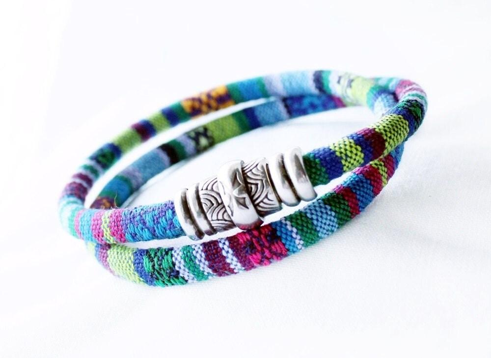 wrap rope bracelet green blue colorful fabric bracelet