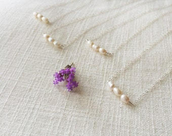 Freshwater Triple Pearl Bridesmaids Necklaces // Sets of 3, 4, 5, & 6