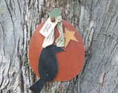 Primitive Wood Pumpkin And Crow Hanger Fall Decor