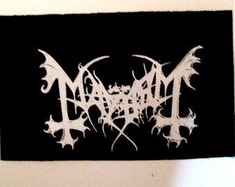 MAYHEM PATCH Black Metal Punk on Black Canvas