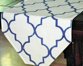 """On clearance - 40"""" WHITE and NAVY Moroccan style table runner, white with hand stenciled navy quatrefoil pattern, ready to ship"""