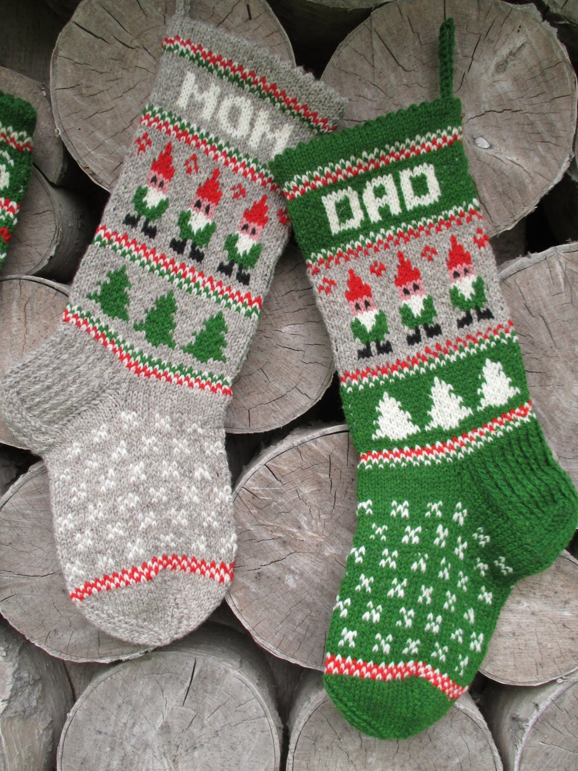 Knit Christmas Stocking Pattern With Name : Christmas Stocking Personalized Knit Wool by KnittingsWithSense