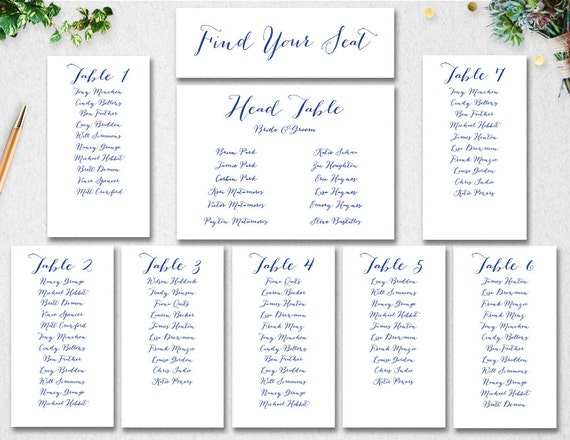 Wedding Seating Chart Template INSTANT DOWNLOAD Editable – Seating Chart Templates