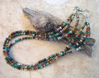"""Mix #1 Gemstone Rondelle Beaded 18"""" 3-strand Necklace"""