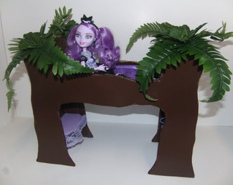 Furniture for Ever After High Doll Kitty Cheshire Handmade Tree Bed with Vanity and Closet