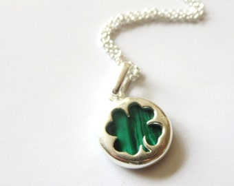 Malachite  four leaf clover necklace -Four Leaf Clover necklace -  Good luck Green Earrings - Gift for her under 20