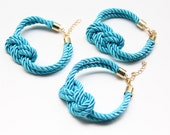 Set of 3 Bridesmaid Gift - Turquoise silk cord Knot Bracelet - 24k gold plated