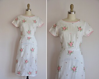 50s Open Air Bloom dress/ vintage 1950s embroidered floral dress/ vintage white rose embroidered dress