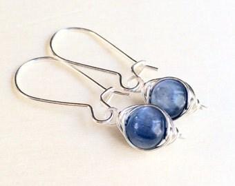 Kyanite and Silver Earrings, Sterling Silver Kyanite Earrings, Blue Kyanite Earrings