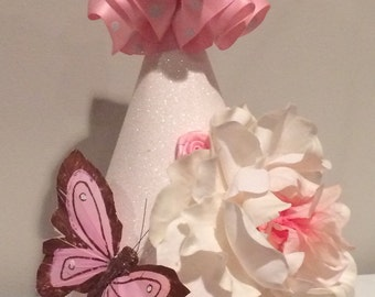 Pink and white butterfly birthday hat, first birthday hat, girls birthday hat